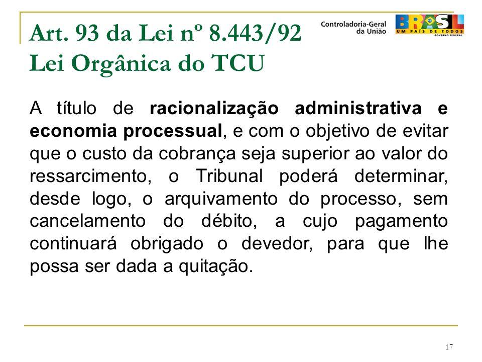 Art. 93 da Lei nº 8.443/92 Lei Orgânica do TCU
