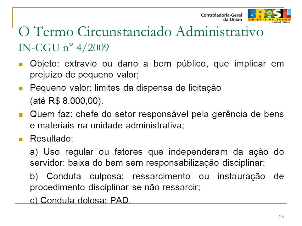 O Termo Circunstanciado Administrativo IN-CGU n° 4/2009