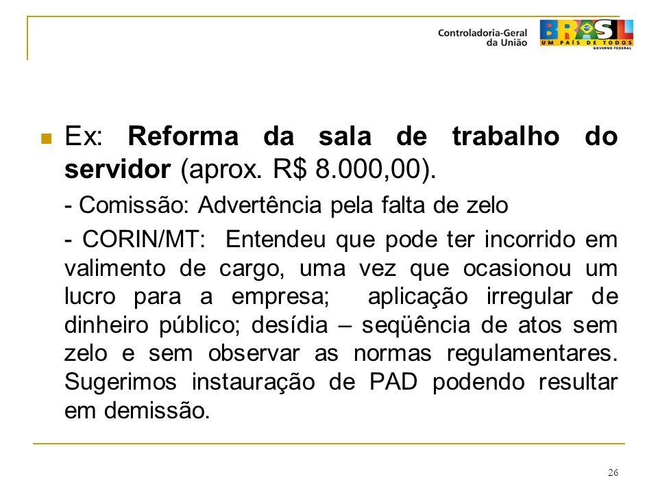 Ex: Reforma da sala de trabalho do servidor (aprox. R$ 8.000,00).