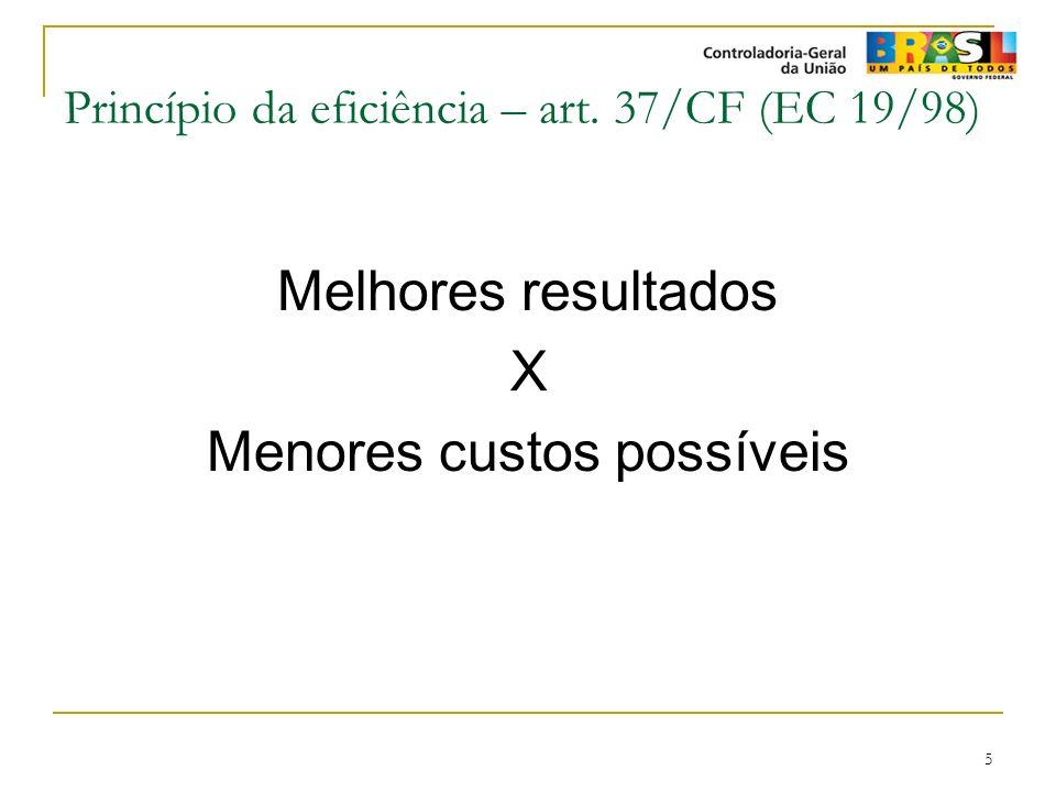 Princípio da eficiência – art. 37/CF (EC 19/98)