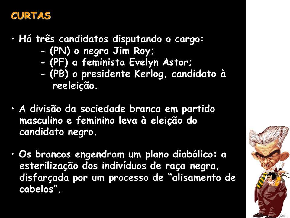 CURTAS Há três candidatos disputando o cargo: - (PN) o negro Jim Roy; - (PF) a feminista Evelyn Astor;
