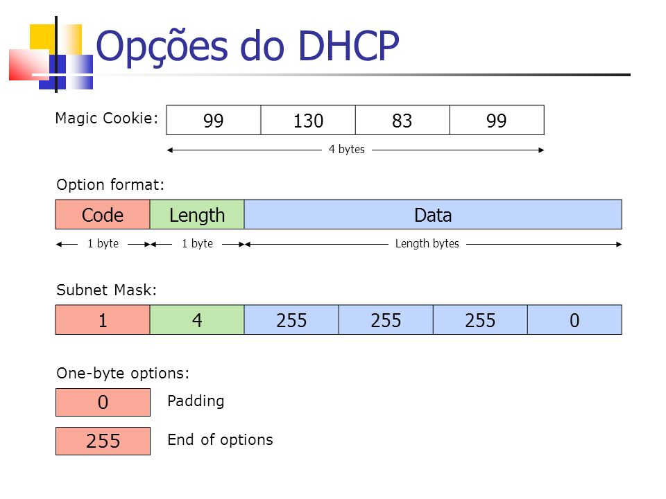 Opções do DHCP 99 130 83 Code Length Data 1 4 255 255 Magic Cookie: