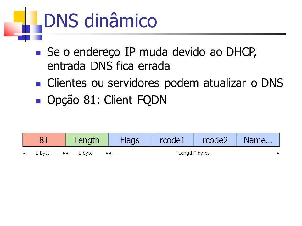 DNS dinâmico Se o endereço IP muda devido ao DHCP, entrada DNS fica errada. Clientes ou servidores podem atualizar o DNS.