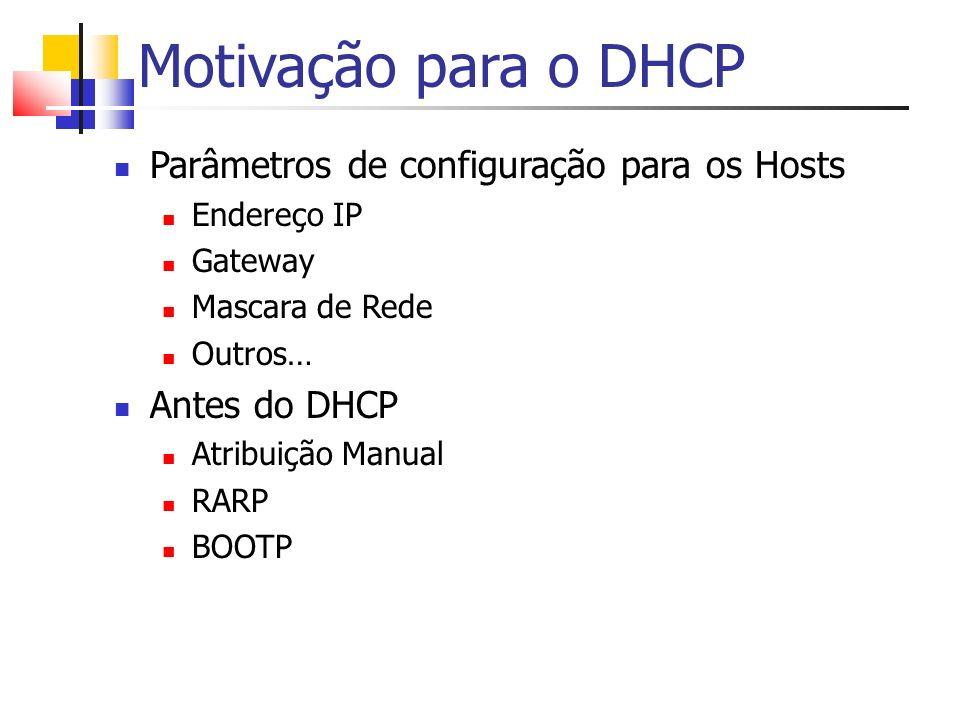 Motivação para o DHCP Parâmetros de configuração para os Hosts
