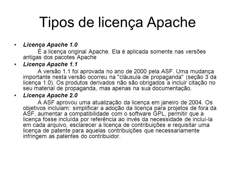 Tipos de licença Apache