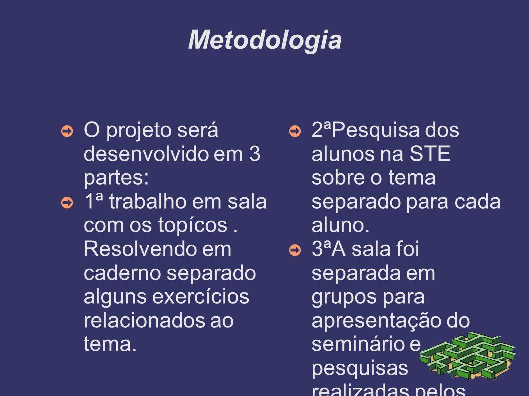 Metodologia O projeto será desenvolvido em 3 partes: