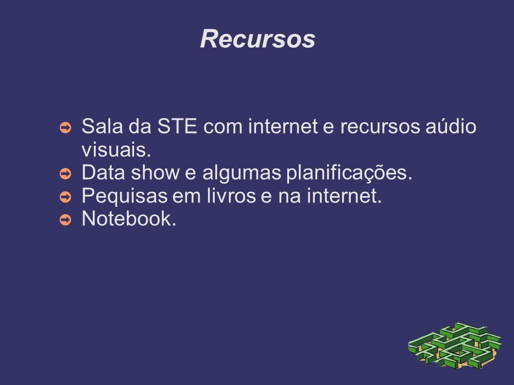 Recursos Sala da STE com internet e recursos aúdio visuais.