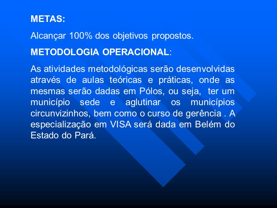 METAS: Alcançar 100% dos objetivos propostos. METODOLOGIA OPERACIONAL: