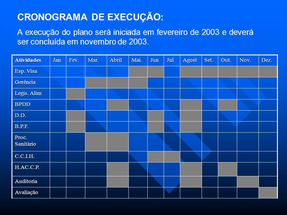 CRONOGRAMA DE EXECUÇÃO: