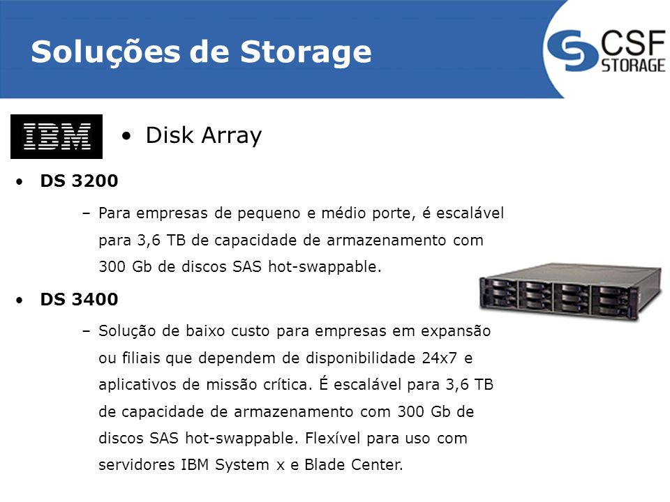 Soluções de Storage Disk Array DS 3200 DS 3400
