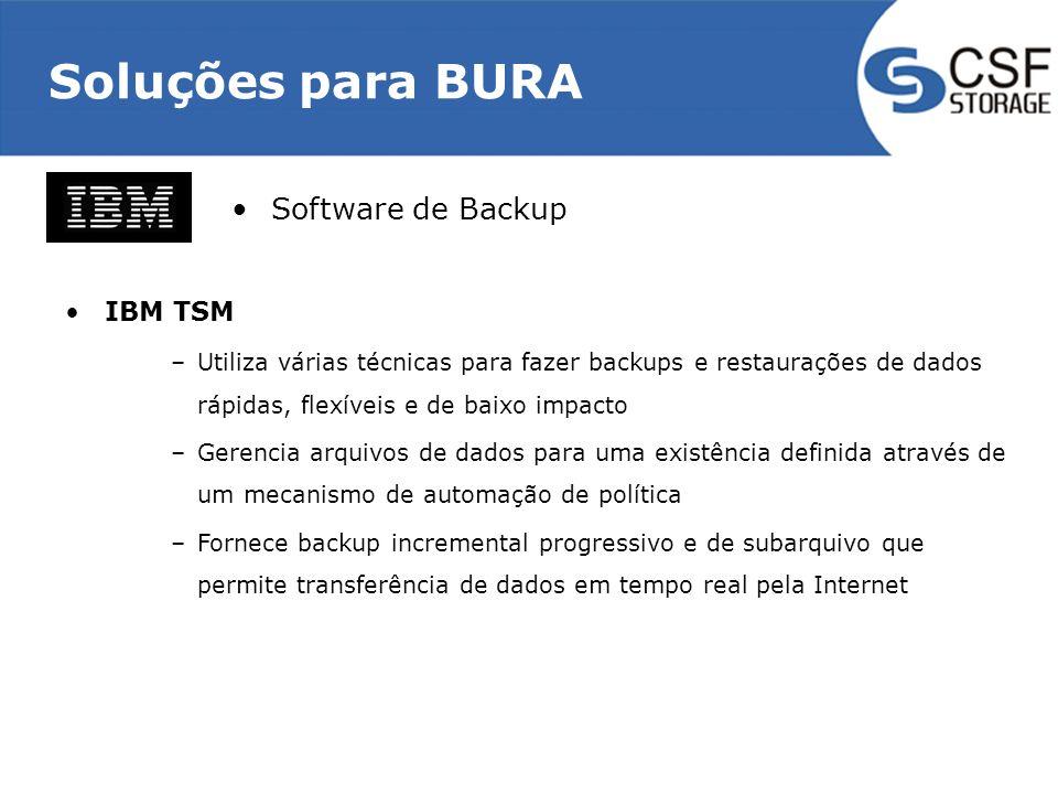 Soluções para BURA Software de Backup IBM TSM