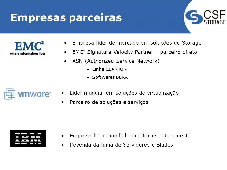 Empresas parceiras Empresa líder de mercado em soluções de Storage