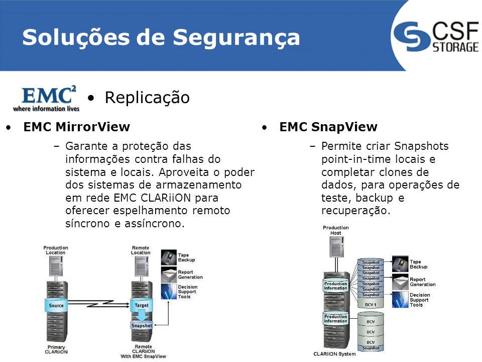 Soluções de Segurança Replicação EMC MirrorView EMC SnapView