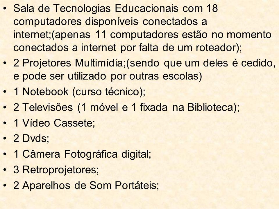 Sala de Tecnologias Educacionais com 18 computadores disponíveis conectados a internet;(apenas 11 computadores estão no momento conectados a internet por falta de um roteador);
