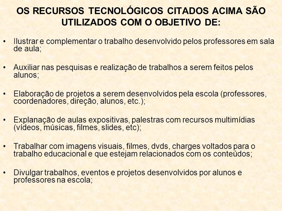 OS RECURSOS TECNOLÓGICOS CITADOS ACIMA SÃO UTILIZADOS COM O OBJETIVO DE: