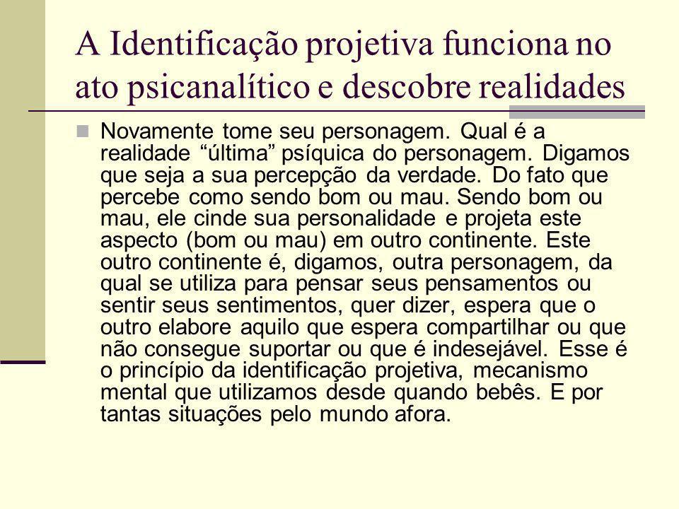 A Identificação projetiva funciona no ato psicanalítico e descobre realidades