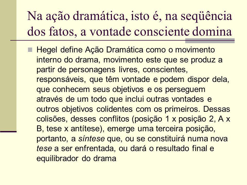 Na ação dramática, isto é, na seqüência dos fatos, a vontade consciente domina
