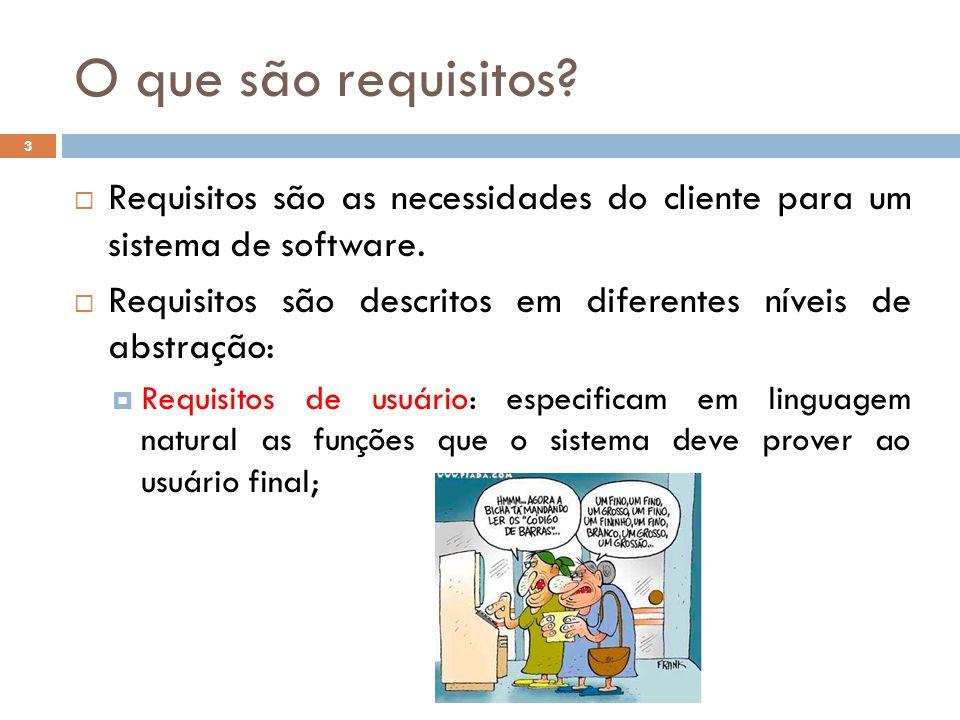 O que são requisitos Requisitos são as necessidades do cliente para um sistema de software.