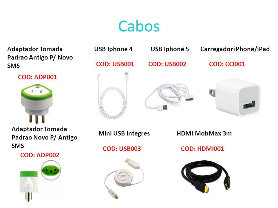 Cabos Adaptador Tomada Padrao Antigo P/ Novo SMS USB Iphone 4