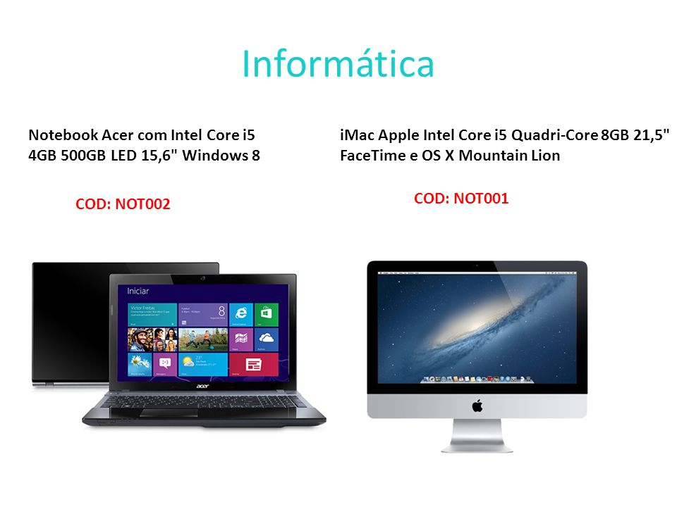 Informática Notebook Acer com Intel Core i5 4GB 500GB LED 15,6 Windows 8.