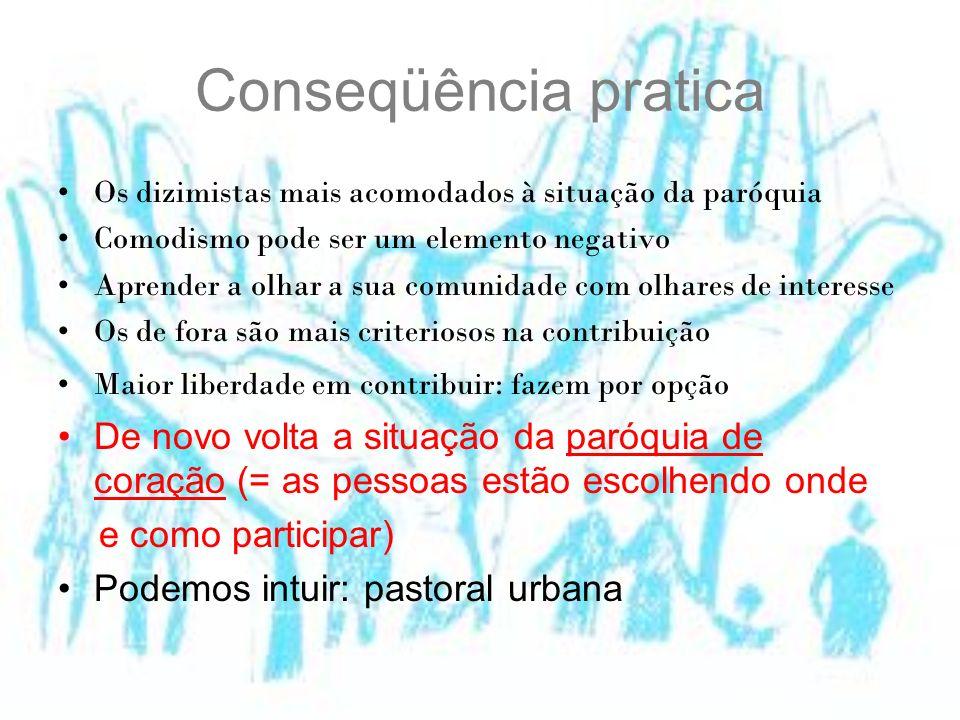 Conseqüência pratica Os dizimistas mais acomodados à situação da paróquia. Comodismo pode ser um elemento negativo.