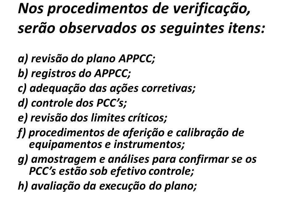 Nos procedimentos de verificação, serão observados os seguintes itens: