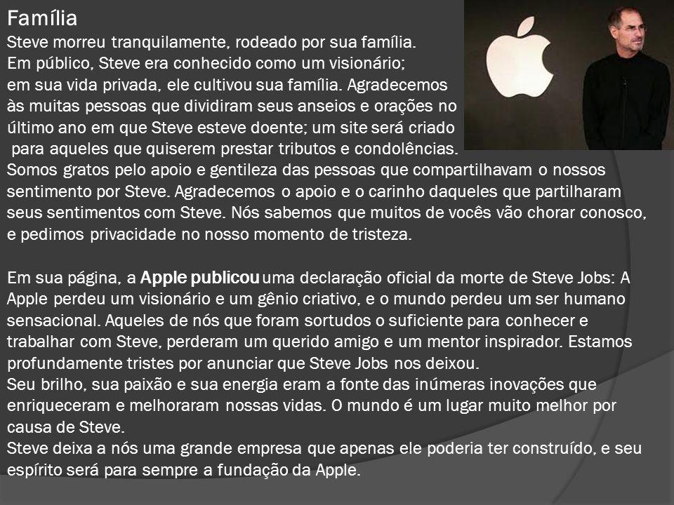 Família Steve morreu tranquilamente, rodeado por sua família.