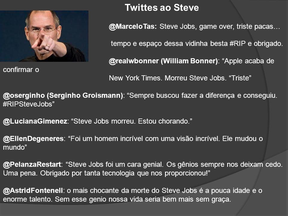 Twittes ao Steve @MarceloTas: Steve Jobs, game over, triste pacas… Gênio além do. tempo e espaço dessa vidinha besta #RIP e obrigado.