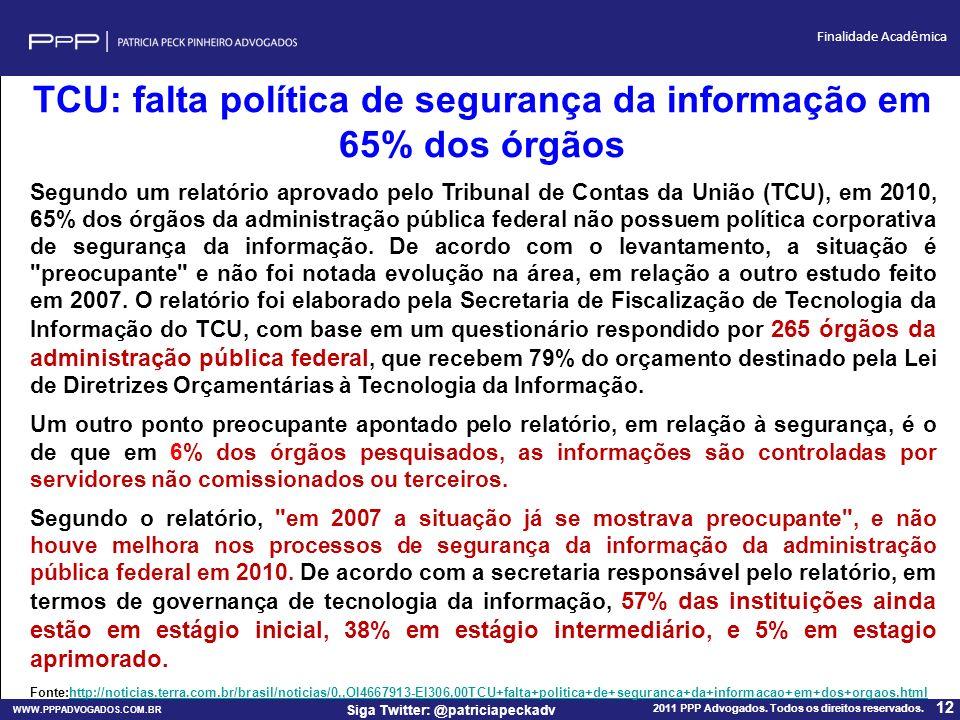 TCU: falta política de segurança da informação em 65% dos órgãos