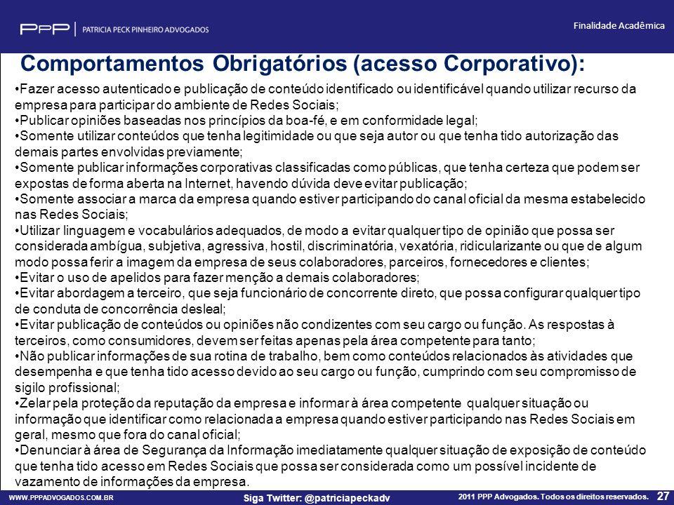 Comportamentos Obrigatórios (acesso Corporativo):