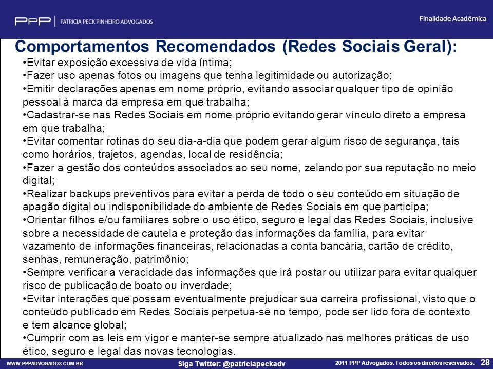 Comportamentos Recomendados (Redes Sociais Geral):