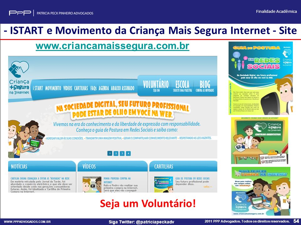 - ISTART e Movimento da Criança Mais Segura Internet - Site