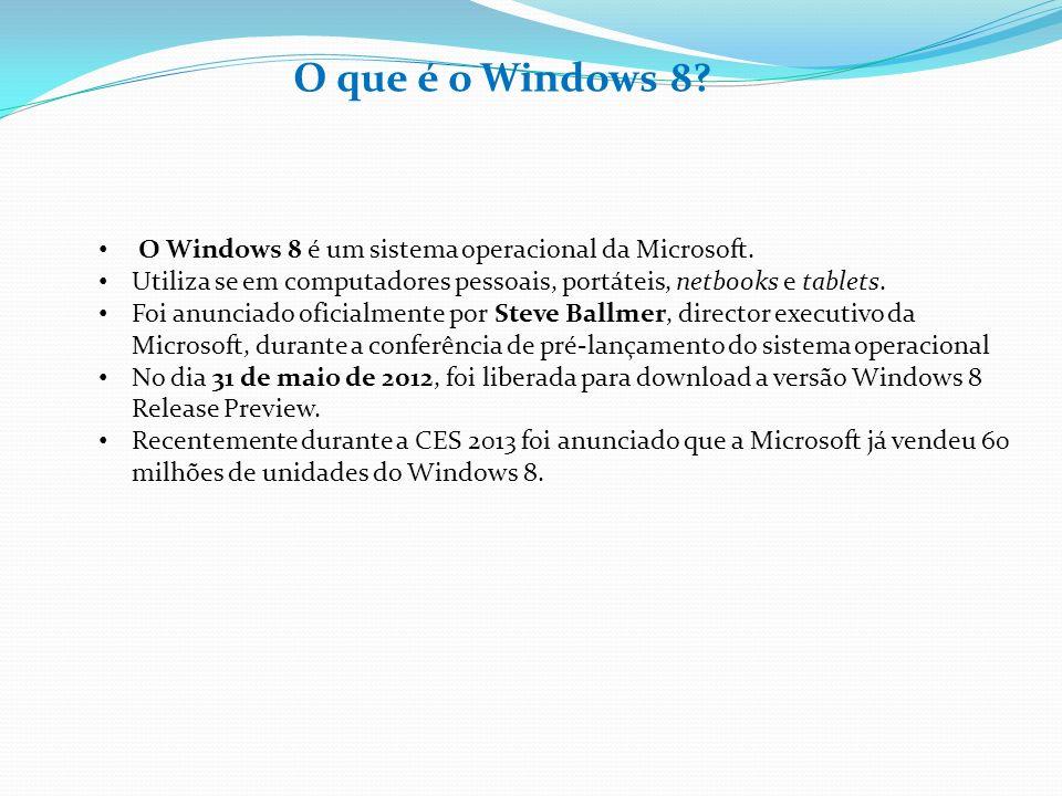 O que é o Windows 8 O Windows 8 é um sistema operacional da Microsoft. Utiliza se em computadores pessoais, portáteis, netbooks e tablets.