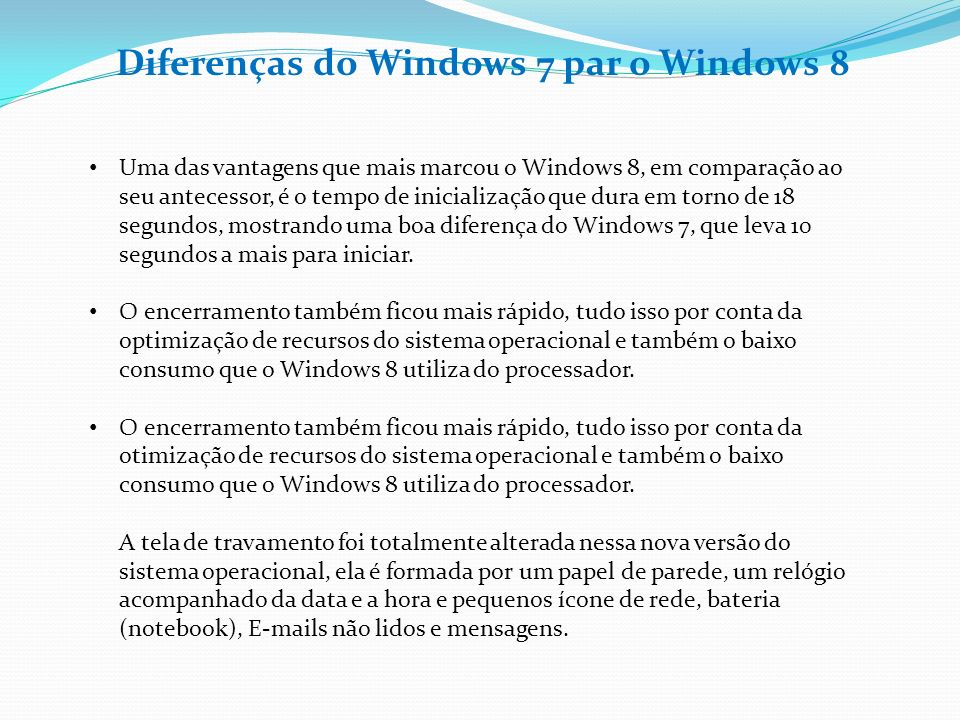 Diferenças do Windows 7 par o Windows 8