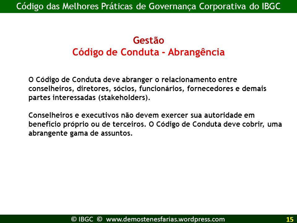 Código de Conduta - Abrangência