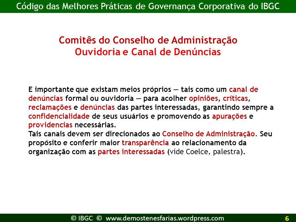Comitês do Conselho de Administração Ouvidoria e Canal de Denúncias