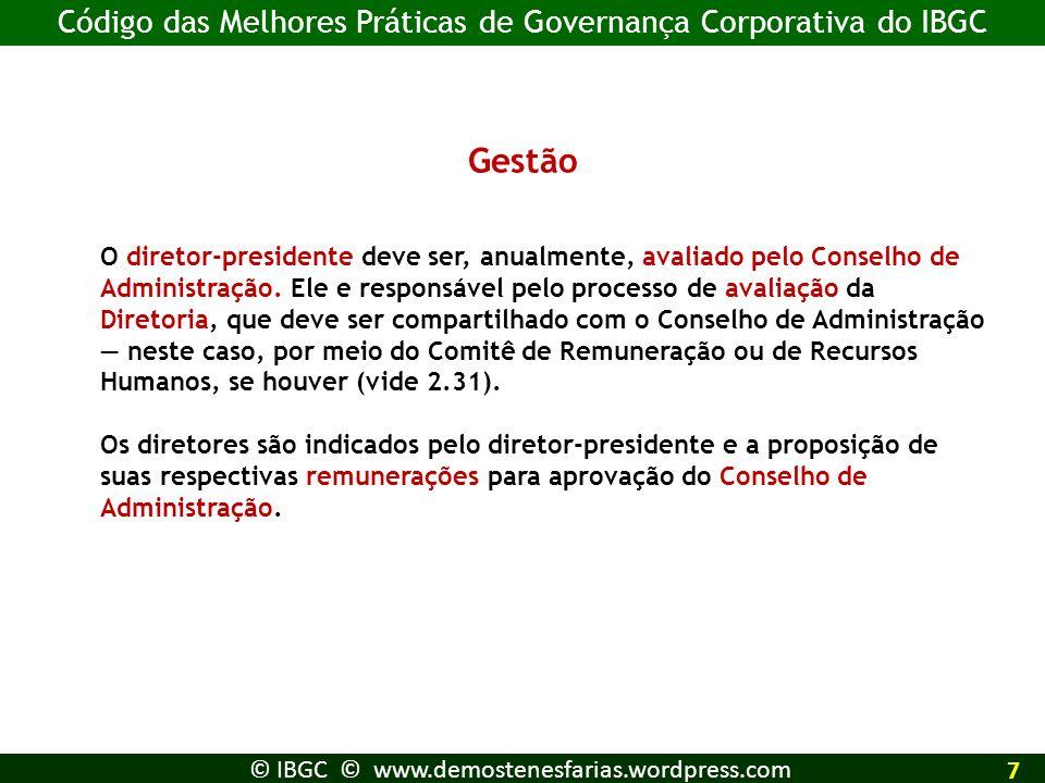 Gestão Código das Melhores Práticas de Governança Corporativa do IBGC