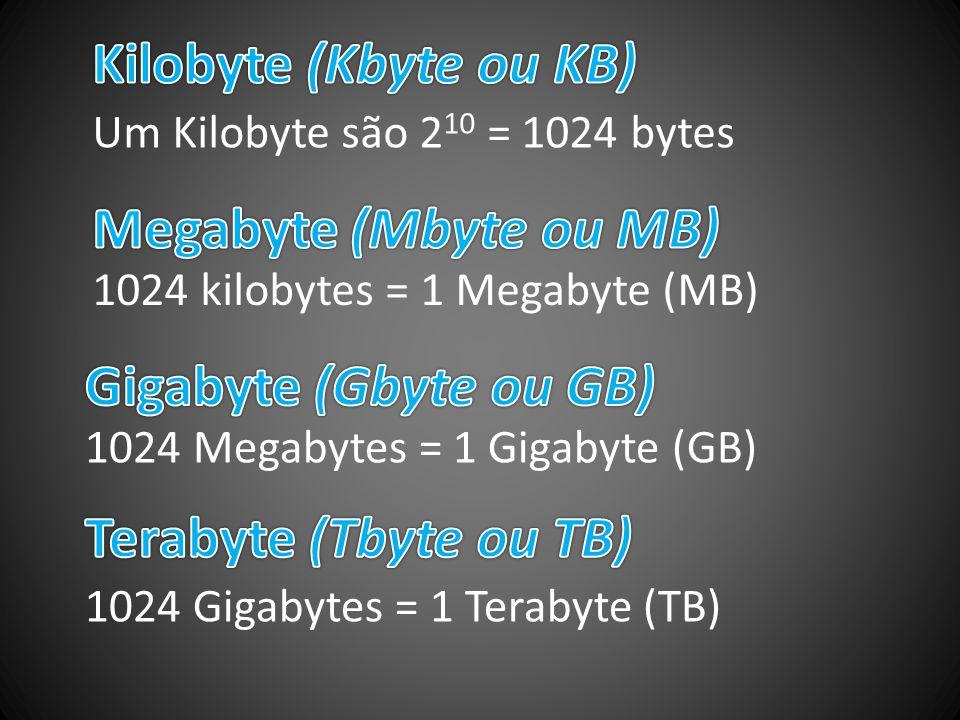 Kilobyte (Kbyte ou KB) Megabyte (Mbyte ou MB) Gigabyte (Gbyte ou GB)