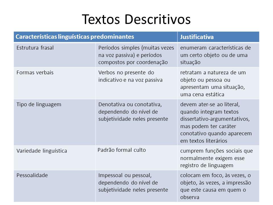 Textos Descritivos Características linguísticas predominantes