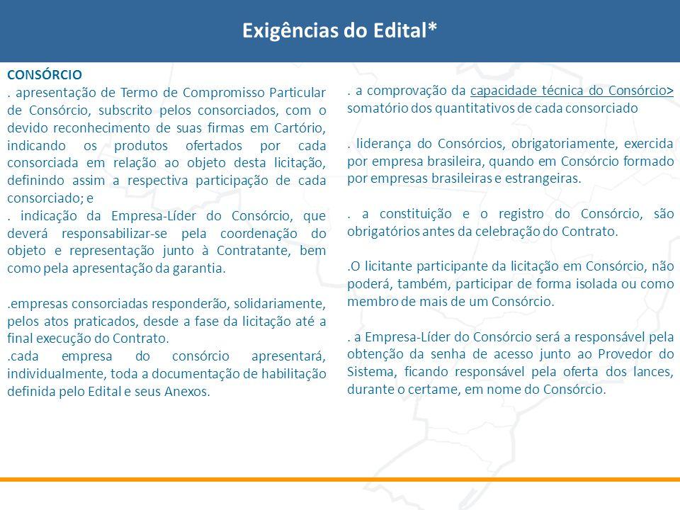 Exigências do Edital* CONSÓRCIO