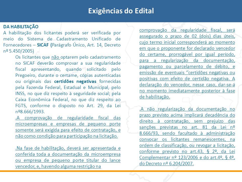 Exigências do Edital DA HABILITAÇÃO