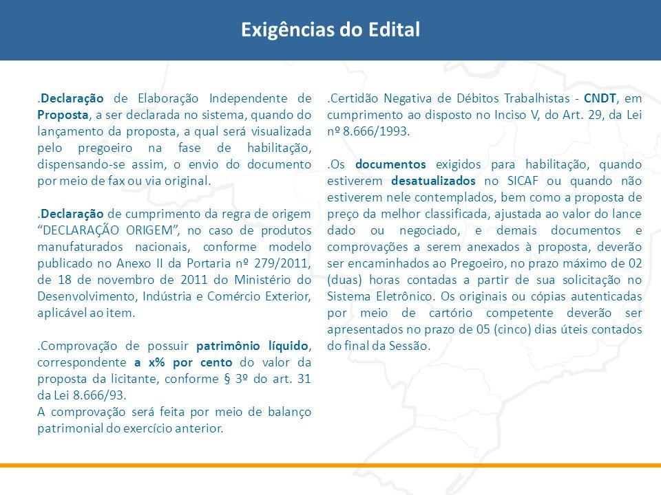 Exigências do Edital