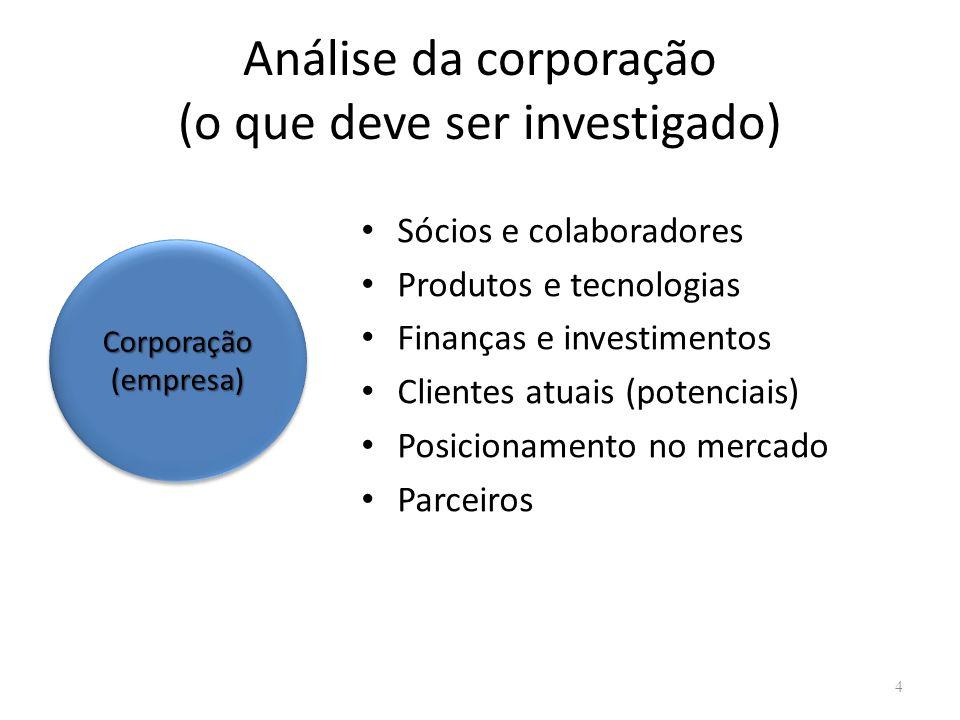 Análise da corporação (o que deve ser investigado)