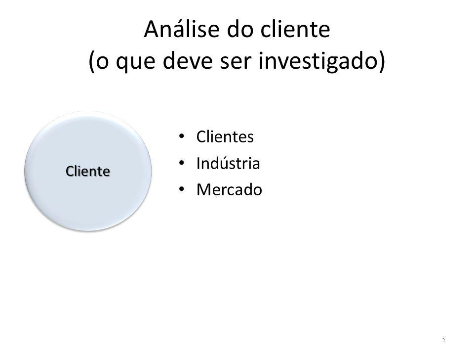 Análise do cliente (o que deve ser investigado)