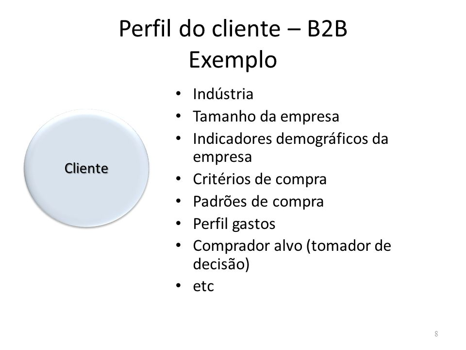 Perfil do cliente – B2B Exemplo