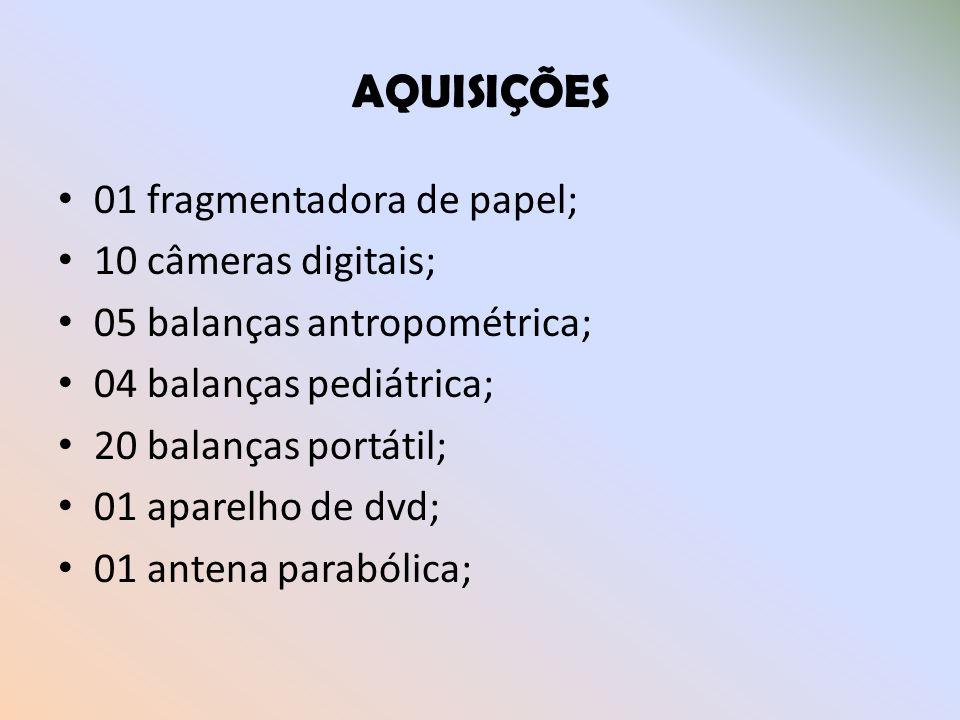 AQUISIÇÕES 01 fragmentadora de papel; 10 câmeras digitais;