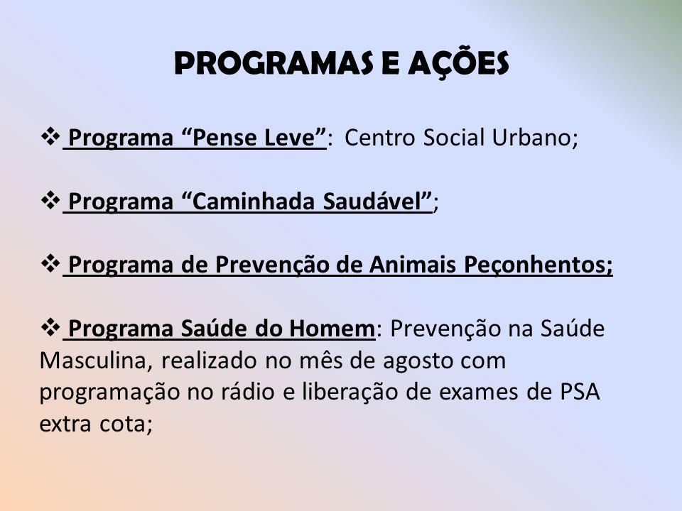 PROGRAMAS E AÇÕES Programa Pense Leve : Centro Social Urbano;