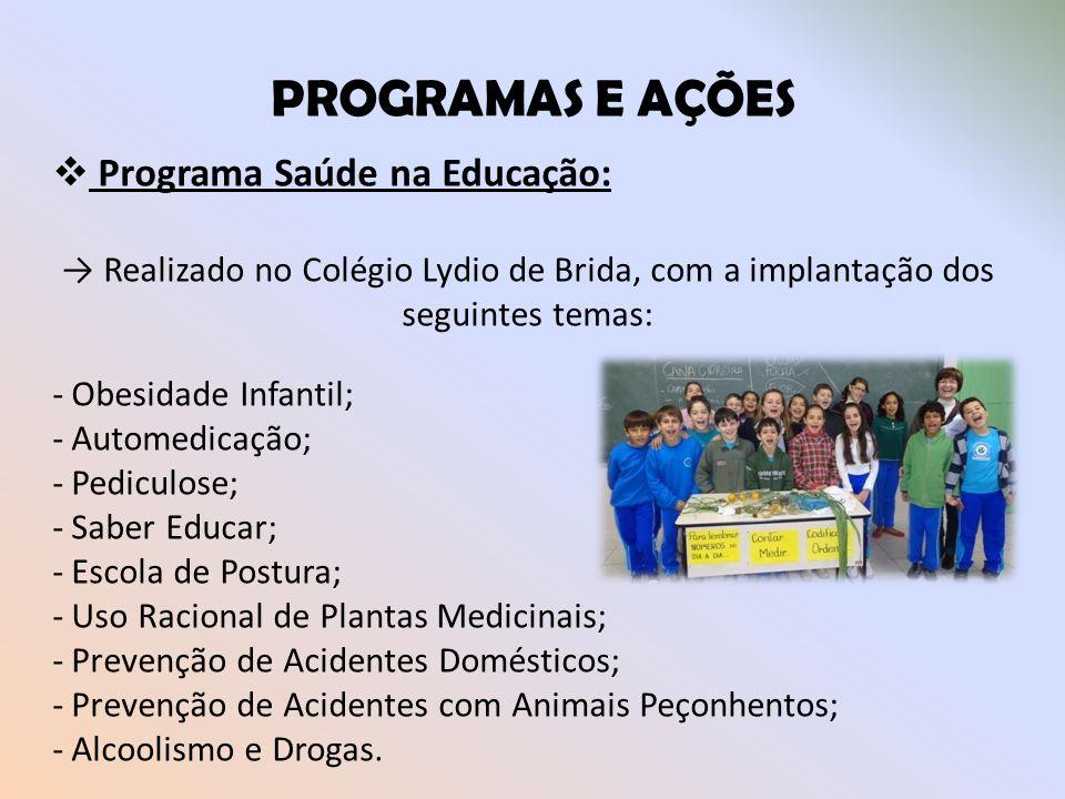 PROGRAMAS E AÇÕES Programa Saúde na Educação: