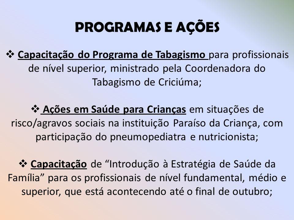 PROGRAMAS E AÇÕES Capacitação do Programa de Tabagismo para profissionais de nível superior, ministrado pela Coordenadora do Tabagismo de Criciúma;