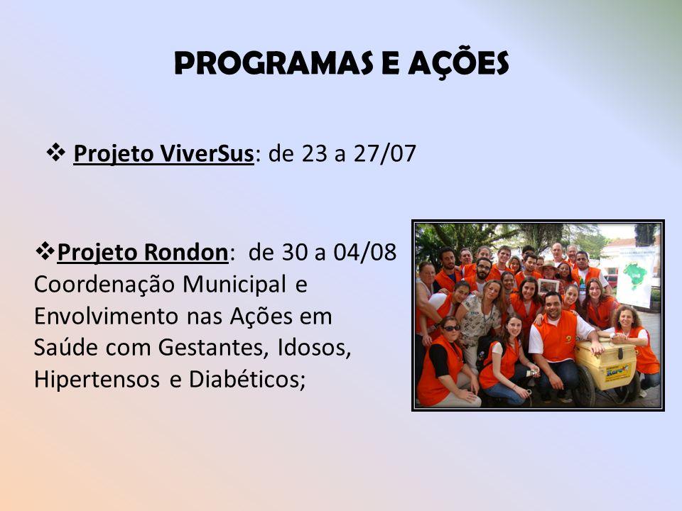 PROGRAMAS E AÇÕES Projeto ViverSus: de 23 a 27/07
